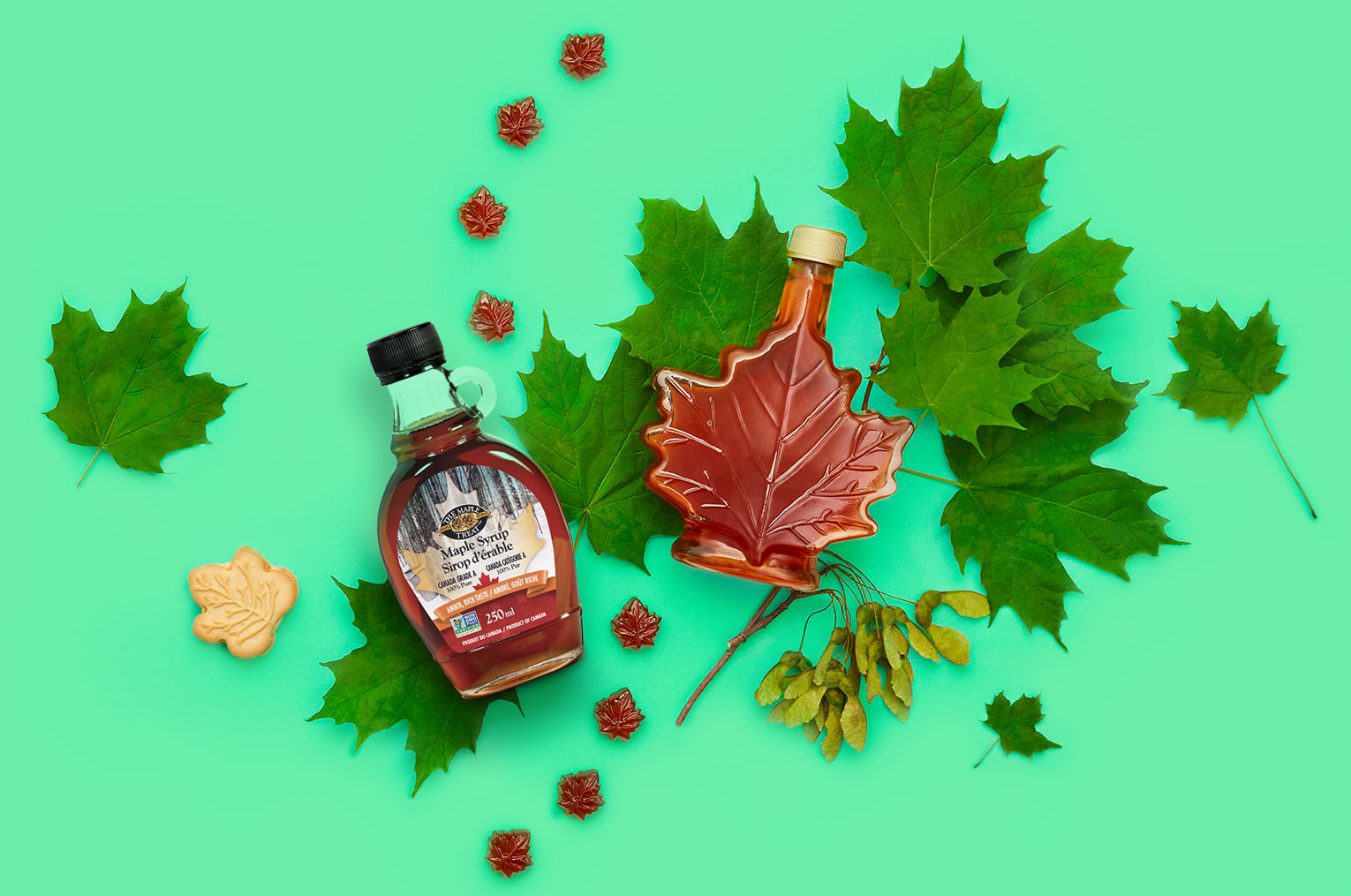 Glass maple syrup bottles against a green background with green maple leaves, maple seeds, maple candies and a cookie.